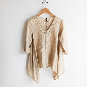 Sacred Threads Linen Cotton Blend Tunic Blouse